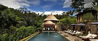 Bagus Jati Resort in Bali - pool view and hut